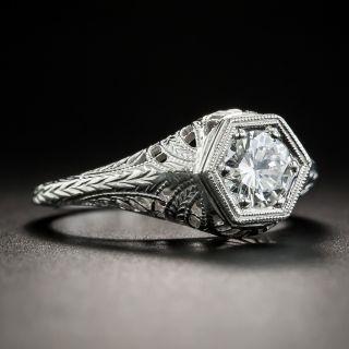 Art Deco Style .52 Carat Diamond Solitaire Platinum Engagement Ring