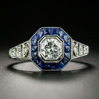 Art Deco Style .57 Carat Diamond Sapphire Platinum Ring - 2