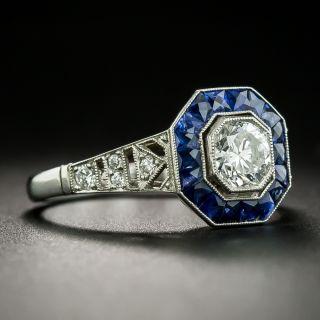 Art Deco Style .57 Carat Diamond Sapphire Platinum Ring