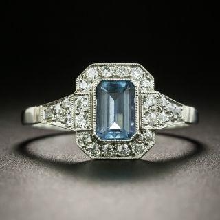 Art Deco Style .60 Carat Aquamarine and Diamond Ring - 2