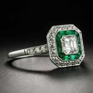 Art Deco Style .64 Carat Diamond and Emerald Engagement Ring