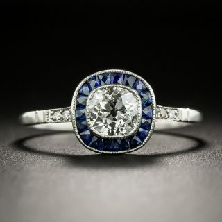Art Deco Style .73 Carat Diamond and Sapphire Halo Ring - 2