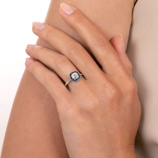 Art Deco Style .73 Carat Diamond and Sapphire Halo Ring