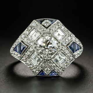 Art Deco Style .77 Carat Diamond and Sapphire Ring - 2