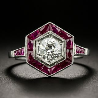 Art Deco Style .78 Carat Diamond and Calibre Ruby Engagement Ring - 1
