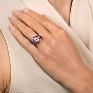 Art Deco Style .78 Carat Diamond and Calibre Ruby Engagement Ring