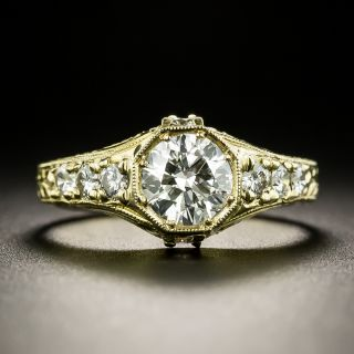 Art Deco Style .79 Carat Diamond Engagement Ring  - 2