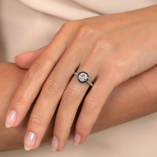 Art Deco Style .86 Carat Diamond and Sapphire Halo Ring