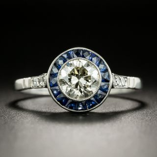 Art Deco Style .86 Carat Diamond and Sapphire Halo Ring - 2