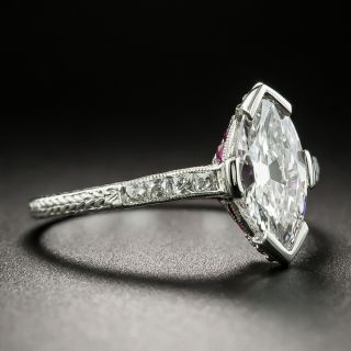 Art Deco Style .92 Carat Diamond Engagement Ring - GIA Faint Pinkish-Brown