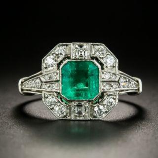 Art Deco Style .92 Carat Emerald and Diamond Ring - 2