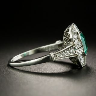 Art Deco Style .92 Carat Emerald and Diamond Ring