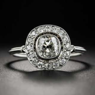 Art Deco Style .93 Ct. Antique Cushion-Cut Diamond Platinum Halo Ring - 2