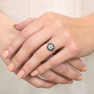 Art Deco Style .98 Carat Diamond and Sapphire Halo Ring -  GIA G VS2