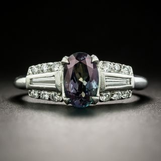 Art Deco Style Alexandrite and Diamond Ring