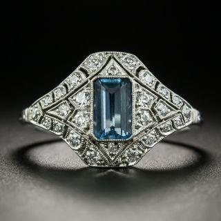 Art Deco Style Aquamarine and Diamond Ring - 2