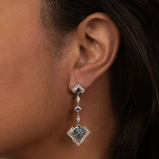 Art Deco Style Aquamarine Drop Earrings
