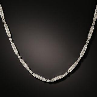 Art Deco Style Bar Link Diamond Necklace - 3
