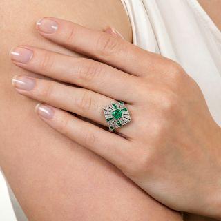 Art Deco Style Bezel-Set Emerald and Diamond Ring