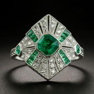 Art Deco Style Emerald Platinum Diamond Ringg - 2