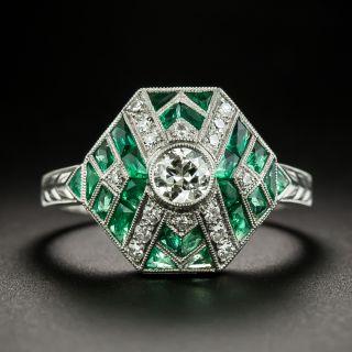 Art Deco Style Diamond and Calibre Emerald Ring - 1