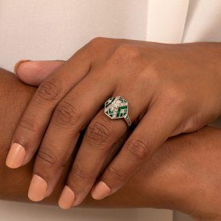Art Deco Style Diamond and Calibre Emerald Ring