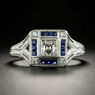 Art Deco Style Diamond and Calibre Sapphire Platinum Ring - 1