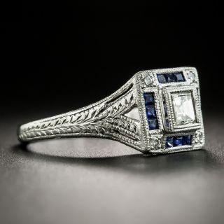 Art Deco Style Diamond and Calibre Sapphire Platinum Ring