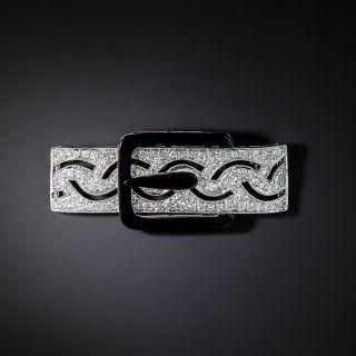Art Deco Style Diamond and Onyx Buckle Motif Pin - 1