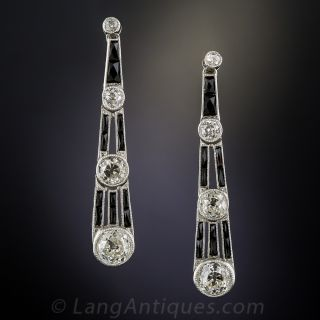 Art Deco Diamond, Onyx and Platinum Earrings