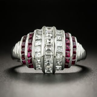Art Deco Style Diamond and Ruby Ring - 2