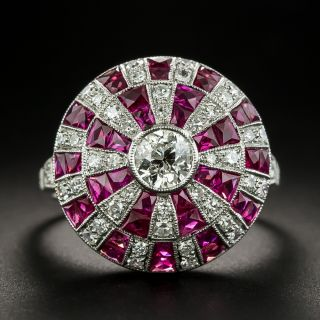 Art Deco Style Diamond and Ruby Roulette Ring - 2