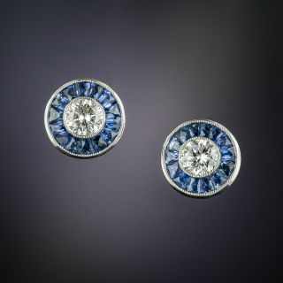 Art Deco Style Diamond and Sapphire Earrings - 2