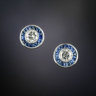 Art Deco Style Diamond and Sapphire Earrings - 3