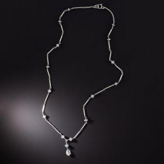 Art Deco Style Diamond Briolette and Rondelle Necklace - 1