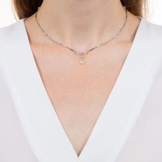 Art Deco Style Diamond Briolette and Rondelle Necklace