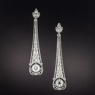 Art Deco-Style Diamond Dangle Earrings - 1