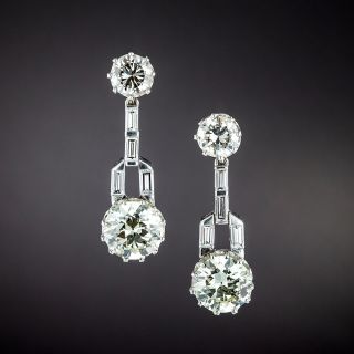 Art Deco-Style Diamond Dangle Earrings - GIA - 1