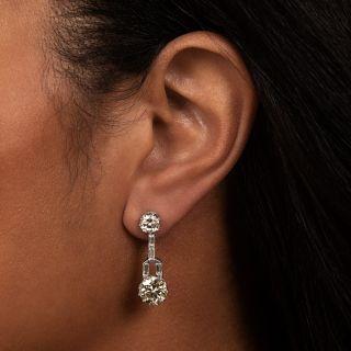 Art Deco-Style Diamond Dangle Earrings - GIA