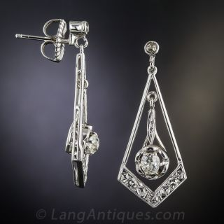 Art Deco Style Diamond Dangle Earrings