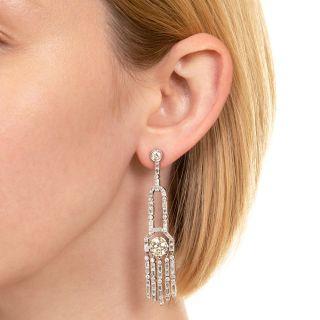 Art Deco Style Diamond Drop Earrings with 2.89 Carat Center Diamonds - GIA