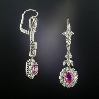 Art Deco Style Diamond Drop Earrings with Pink Sapphires
