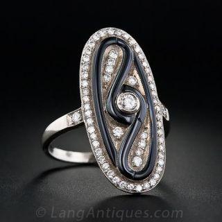 Art Deco Style Diamond Onyx Dinner Ring