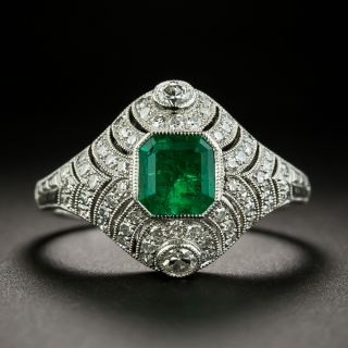 Art Deco Style Emerald and Diamond Dinner Ring - 1