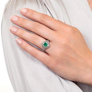 Art Deco Style Emerald and Diamond Dinner Ring