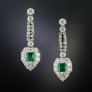 Art Deco Style Emerald and Diamond Drop Earrings - 2
