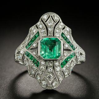 Art Deco Style Emerald and Diamond Ring  - 2