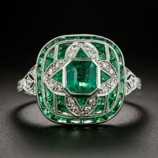 Art Deco Style Emerald and Diamond Ring - 0