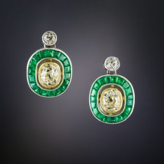 Art Deco Style Fancy Yellow Diamond and Calibre Emerald Earrings - 1
