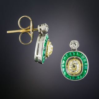 Art Deco Style Fancy Yellow Diamond and Calibre Emerald Earrings